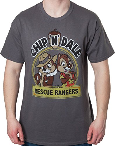 Mighty Fine Men's Chip n Dale Rescue Rangers Logo Mens T-Shirt Charcoal Large