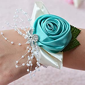 Jackcsale Wedding Bridal Corsage Bridesmaid Wrist Flower Corsage Flowers for Wedding 35