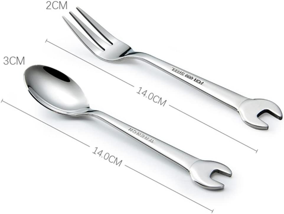 Winkey Spoon and Fork Wrench Shape Tableware Home Kitchen Stainless Steel Fork Spoon Spoon