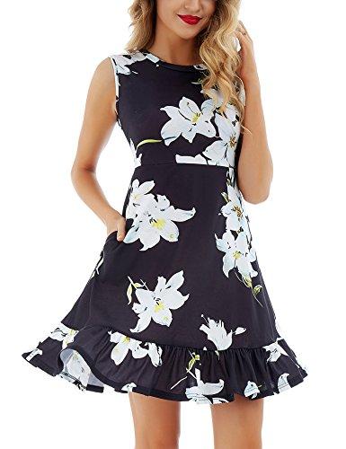 Uniboutique Women's Floral Print Beach Dress Casual Flared Summer Swing Skater Dress White Flower S