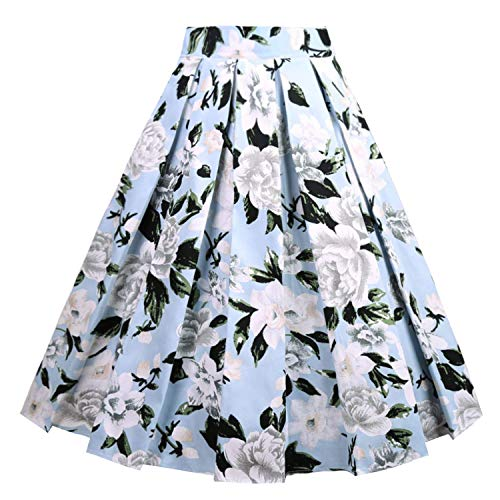 Girstunm Women's Pleated Vintage Skirt Floral Print A-line Midi Skirts with Pockets Blue-White Flowers L