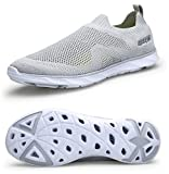 TQGOLD Men Women Amphibious Quick-Dry Aqua Water Shoes Athletic Slip On Walking Sneakers Outdoor Air Mesh(Size 43, Gray)