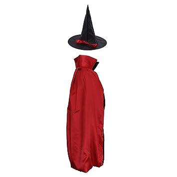 Magideal Erwachsene Kinder Halloween Hexe Umhang Satin Karneval