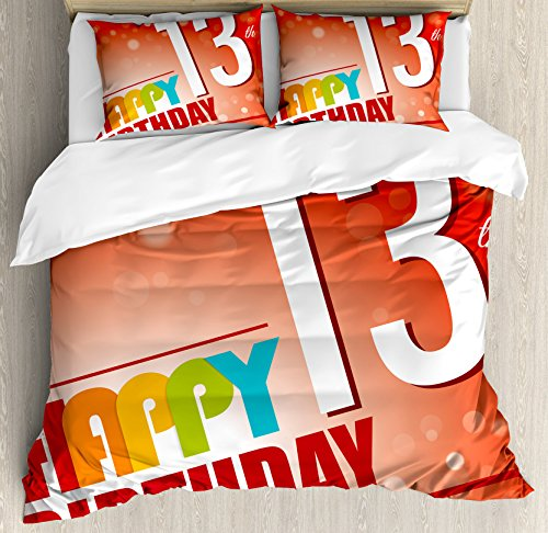 13th Birthday Decorations Duvet Cover Set by Ambesonne, Retro Style Teenage Party Invitation Graphic Design Bokeh Rays, 3 Piece Bedding Set with Pillow Shams, Queen / Full, Multicolor