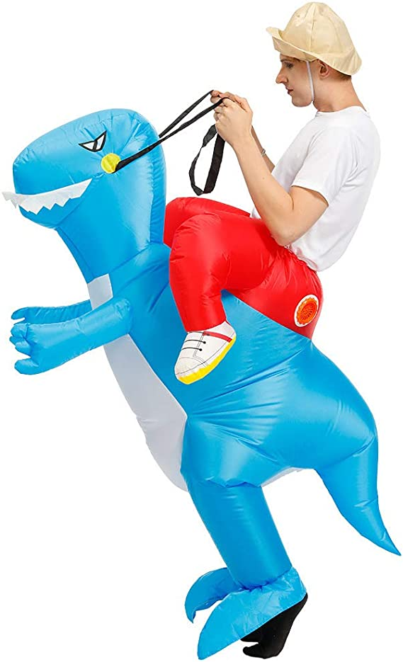 Inflatable Rider Costume Riding Me T-Rex Fancy Dress Funny Dinosaur Dragon Funny Suit Mount Kids Adult