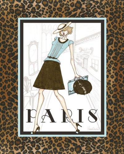 Paris Fashion Cheetah Print French Ad Poster Cute Sky Blue Purse And Dress Trendy Wall Art