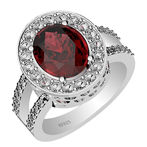 5.35ctw,Genuine Garnet 9x11mm Oval & Solid .925 Sterling Silver Halo Ring (Size-9)