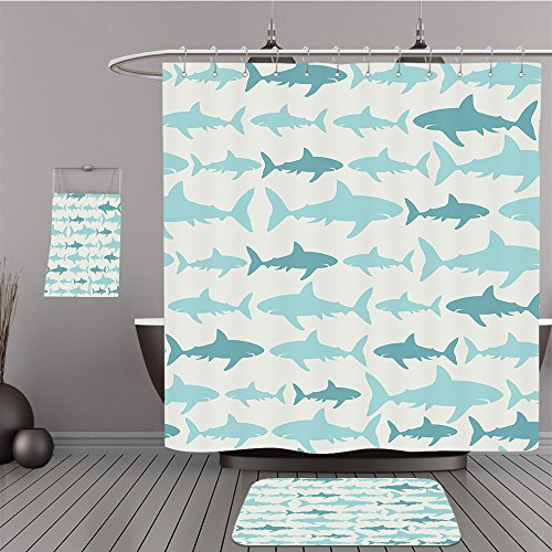 Uhoo Bathroom Suits & Shower Curtains Floor Mats And Bath Towels 30028385 Shark seamless pattern. Vector illustration for wallpaper, pattern fills, web page background,surface textures. For Bathroom