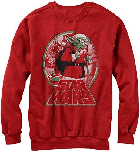 Star Wars Yoda Santa Bringing Joy Adult Red Ugly Christmas Sweatshirt (Adult X-Large)