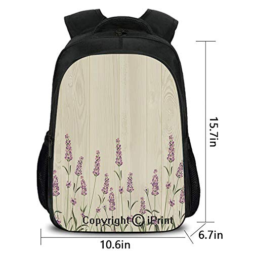 Travel Waterproof Backpack,Aromatic Herbs on Wooden Planks Springtime Nature Botany Illustration,School Bag :Suitable for Men and Women,School,Travel,Daily use,etc.Beige Lilac Sage Green