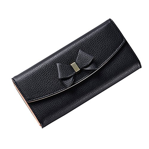 Kukoo Women Leather Long Wallet Bowknot Clutch Handbag Coin Purse Card Holder by Kukoo
