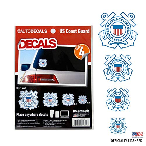 OFFICIALLY LICENSED U.S. COAST GUARD DECALS - 4 Piece US Military Stickers For Truck or Car Windows, Phones, Tablets & Laptops - Large Military Decals 1.75 to 4 Inches - Car Decals Military Collection (Us Coast Guard Decals)