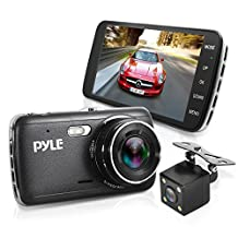 """Pyle Upgraded 4.0"""" IPS Screen Vehicle DVR Mirror Dash Cam Kit - Dual Camera Video Recording System in Full HD 1080p and 32GB Memory w/ Motion Detect Parking Control Loop Record Support PLDVRCAM44"""