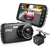 """Dash Cam Rearview Mirror Monitor - 4.0"""" IPS Screen DVR Rear View Dual Camera Video Recording System in Full HD 1080p w/Built in G-Sensor Parking Monitor Control Loop Record Support - Pyle PLDVRCAM44"""