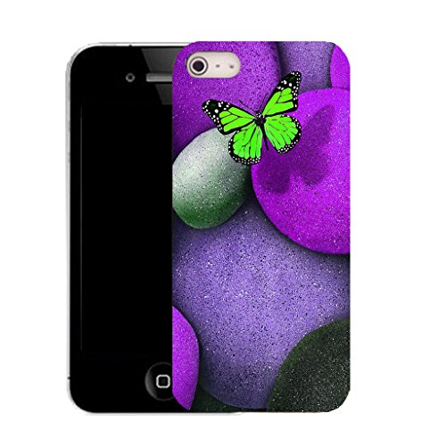Mobile Case Mate IPhone 5S clip on Silicone Coque couverture case cover Pare-chocs + STYLET - purple butterfly stom pattern (SILICON)