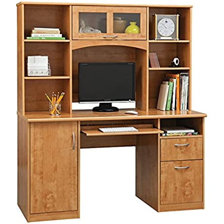 Realspace Landon Desk With Hutch Oak