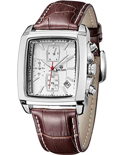 Quartz Chronograph Men's Business Casual Watch Leather Wristwatches(Brown)