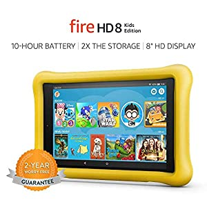 Fire HD 8 Kids Edition Tablet, 8″ HD Display, 32 GB, Yellow Kid-Proof Case
