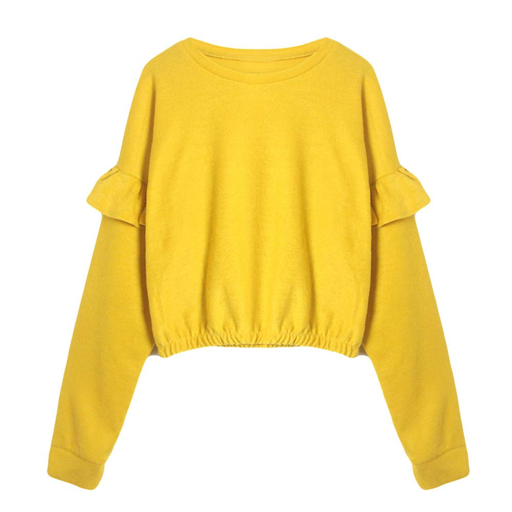 PENGYGY Shirts Women Prime, Fashion Womens Solid Long Sleeve O-Neck Sweatshirt Ruffled Causal Tops Blouse