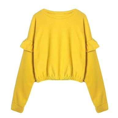 0a27e4ba6c ❤️Meilleure Vente! LuckyGirls Mode Femmes Nouveau Automne Hiver Pull Court  à Volants Coton Sweatshirt Chaud Sports à Pull Manche Longue Tops Tunique  Haut ...