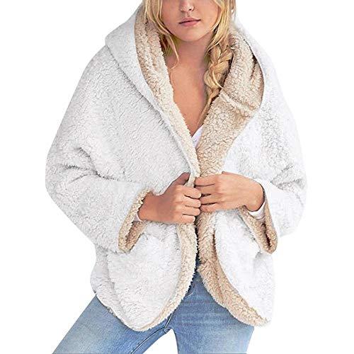 Capucha Caqui Tamaño Las Abrigos Abrigo Con Cálido Faux Mujer Gran Invierno Casual Blanco Mujeres La twbb Shearling Lana De xx6TwqaBR4