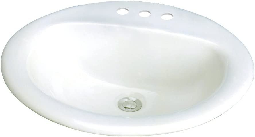 Transolid TL-1558-01 Akron Oval Drop-In Vitreous China Lavatory 8-Inch Centers, White