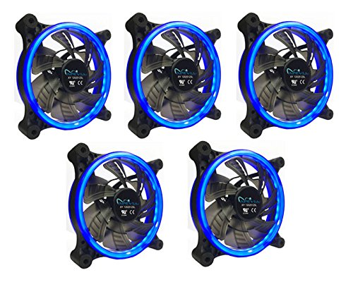 APEVIA 512L-CBL 120mm Silent Dual Rings Blue LED Fan with 32 x LEDs & 8 x Anti-Vibration Rubber Pads (5 Pk)