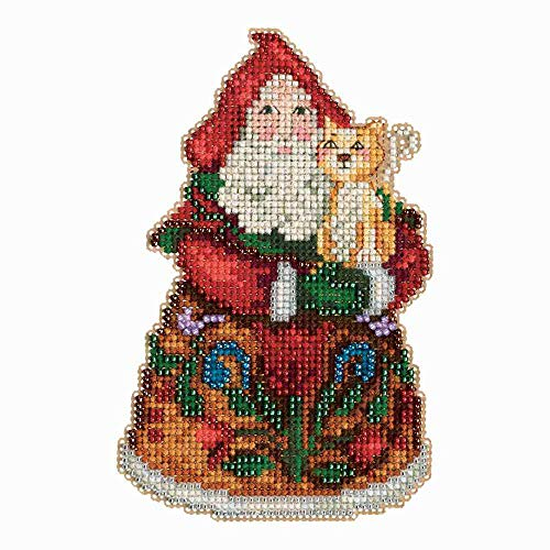 (Mill Hill Christmas Santa Ornament Counted Cross Stitch Kit w/ Glass Beads Purrfect Christmas JS203101)