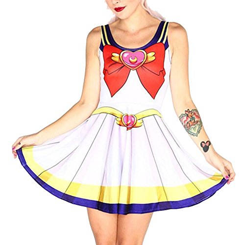 TRENDY STYLISH Women Sailor Moon Style Cosplay Costume Skater Dress (Plus Size Sailor Moon Costume)