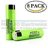 Panasonic NCR18650PF High Drain Li-ion 3.7V 10A 2900mAh Rechargeable Flat Top Battery, (8 Pack) by M&A BD Electronics