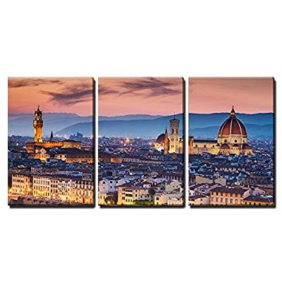 3 Piece Canvas Wall Art - Beautiful Sunset Over Cathedral of Santa Maria Del Fiore (Duomo), Florence, Italy - Modern Home Art Stretched and Framed Ready to Hang - 24