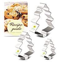Asener Christmas Tree Cookie Cutter Set [3-Piece] - Tin Plated Steel, Perfectly Designed, Christmas Tree Shapes, Durable Cookie Cutter with Recipe Book