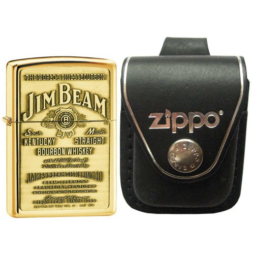(Zippo 254BJB929 Jim Beam Emblem High Polish Brass Windproof Lighter with Zippo Black Leather Loop Pouch)