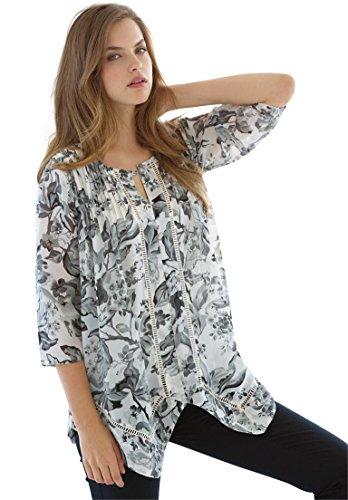 Jessica London Women's Plus Size Pintuck Blouse – 12 Plus, Black White Floral