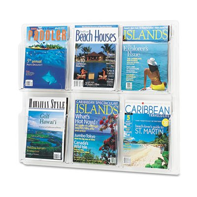 Safco Products 5607CL Reveal Literature Display, 6 Magazine, Clear