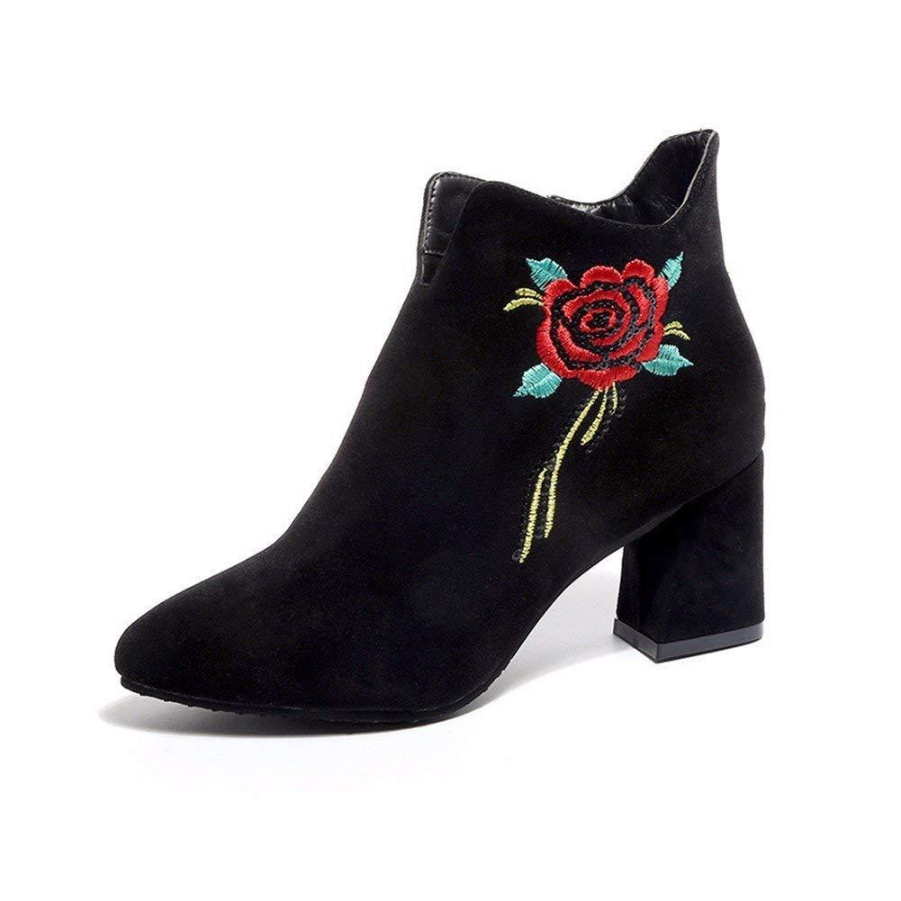 SED Signore stivaletti stile nazionale ricamo fiore cerniera a punta tacco e scarpe da donna elegante,35 Eu,Nero 35 Eu