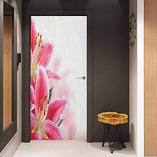 (Self-Adhesive Wall Murals Pink and White Florist Theme with Lilies Close Up A Fresh Bouquet for The Loved Ones Sticker Removable Door Decal W17.1 x H78.7 Pink Orange Green)