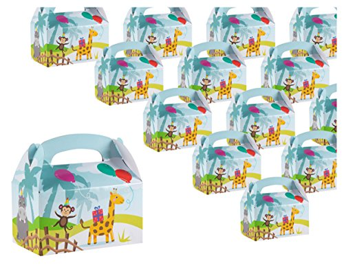 Treat Boxes - 24-Pack Paper Party Favor Boxes, Zoo Animal Design Goodie Boxes for Birthdays and Events, 2 Dozen Party Gable Boxes, 6 x 3.3 x 3.6 inches