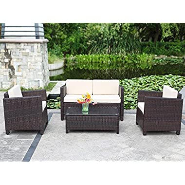 Wisteria Lane Outdoor Patio Furniture Set, 5 Piece Conversation Set Wicker Loveseat Sectional Sofa Garden Lawn Cushion Chair with Glass Table,Brown