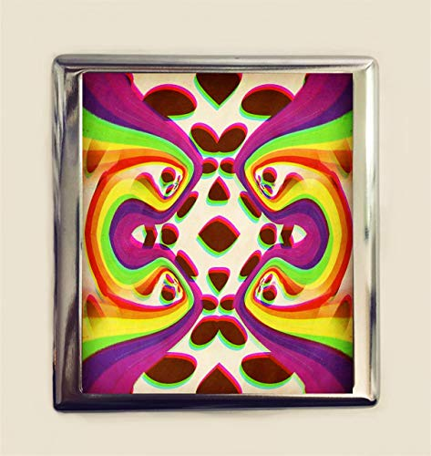 - Psychedelic Rainbow Op Art Cigarette Case Business Card ID Holder Wallet Trippy Surreal 1960's 1970's Inspired