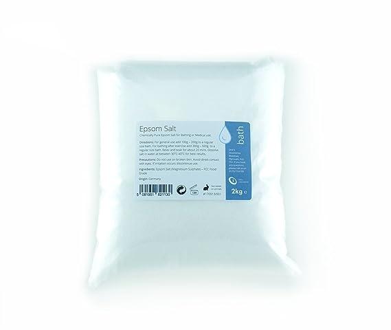 Epsom sal 2 kg - Sulfato de magnesio de grado de alimentos químicamente puro: Amazon.es: Salud y cuidado personal