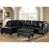 Merax. Sofa 3-piece Sectional Sofa with Chaise Lounge/Storage Ottoman/7 Back Cushions/2 Throw Pillows (Black_PU)
