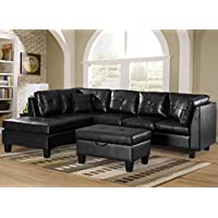 Merax Sofa 3-piece Sectional Sofa with Chaise Lounge/Storage Ottoman/7 Back Cushions/2 Throw Pillows (Black_PU)