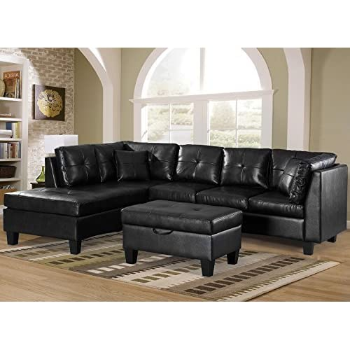 Merax. Sofa 3-Piece Sectional Sofa with Chaise Lounge/Storage Ottoman/7 Back Cushions/2 Throw Pillows (Black_PU) by Harper&Bright Designs