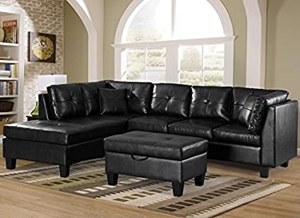 Amazon.com: Merax. Sofa 3-Piece Sectional Sofa with Chaise Lounge ...