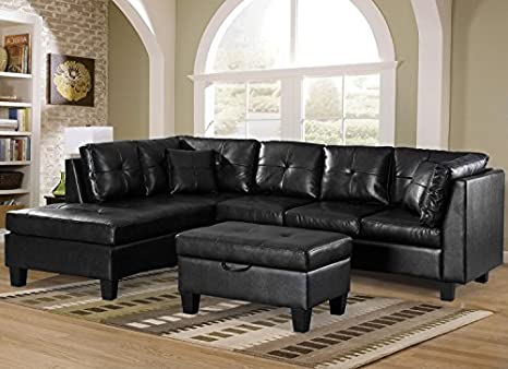 Amazon.com: Merax - Sofá de 3 piezas con chaise longue ...