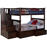 Columbia Staircase Bunk Bed with 2 Flat Panel Bed Drawers, Full Over Full, Antique Walnut