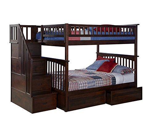 Columbia Staircase Bunk Bed with 2 Flat Panel Bed Drawers, Full Over Full, Antique (Atlantic Furniture Panel)