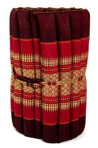 Kapok Rollmatte in 190cm x 50cm x 4,5cm der Marke Asia Wohnstudio; Liegematte bzw. Yogamatte, Thaikissen, Thaimatte als asiatische Rollmatratze (pink)