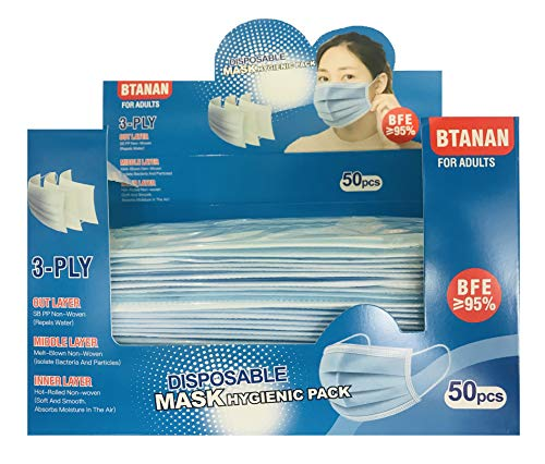 BTANAN 50Pcs Disposable Face Mask Boxed and Individually Sealed Face Masks for Extra Hygiene, Used for Beauty Salon…